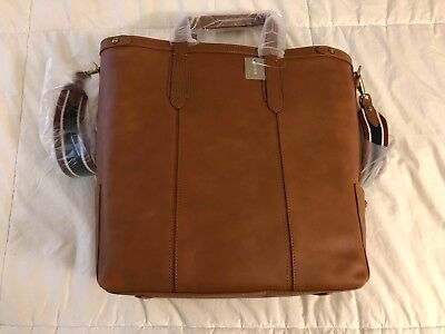J.Crew Oar Stripe Vegetable-Tanned Leather Tote Bag, Burnished Sienna, NWT!, Pic