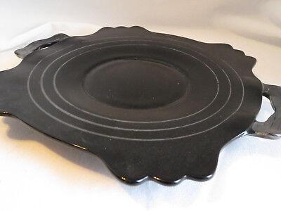 "Art Deco LE Smith Mount Pleasant Black Amethyst Ebony Glass 9"" Serving Platter"