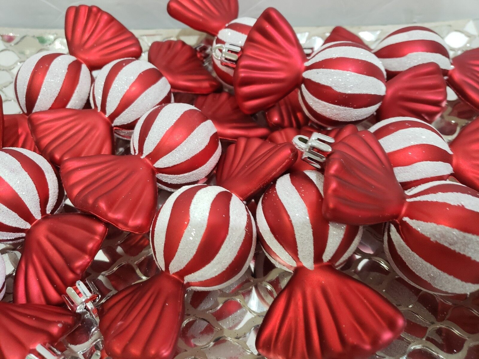 Christmas Holiday Red White Candy Cane Peppermint Ornaments