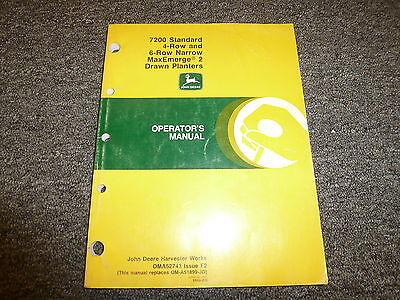 John Deere 7200 4 6 Row Narrow Drawn Planter Owner Operator Manual Oma52743