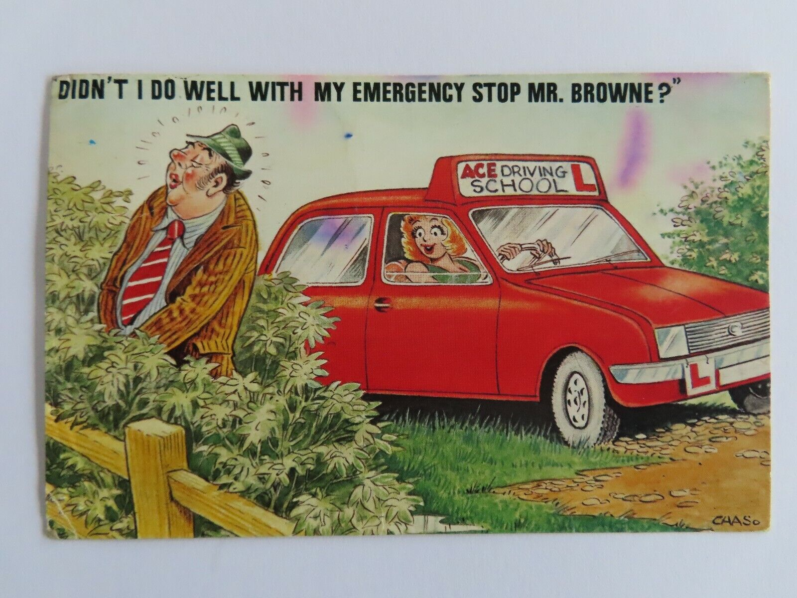 Vintage Bamforth Saucy Postcard - seaside Driving Lesson Learner posted