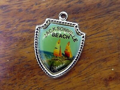 Vintage silver JACKSONVILLE FLORIDA BEACH SAILBOATS TRAVEL SHIELD charm #E13