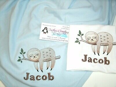 Sloth in tree Personalized Baby Infant Blanket & Bib Set ](Personalized Baby Stuff)