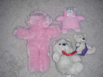 LOT of 4 plush stuffed TEDDY BEARs BABY Pink White SOFT TODDLER GIRL GIFT EUC