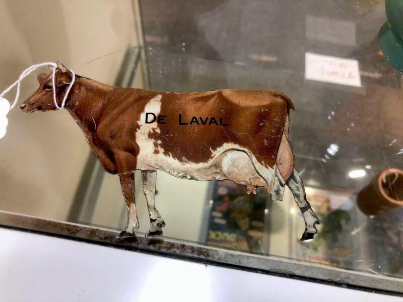Antique DeLaval Cream Separator & Milker Advertising Cow Flat Tin