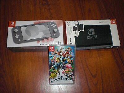 NEW Nintendo Switch Lite Console & Super Smash Bros. Ultimate Game Case Bundle