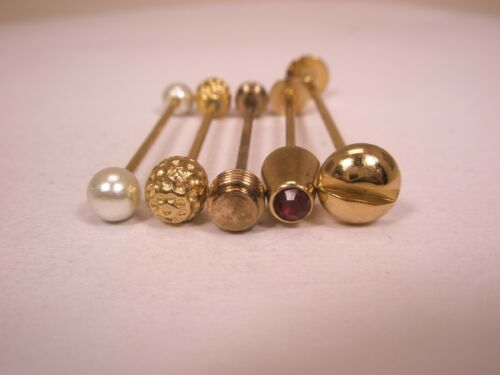 -5 lot Gold Tone Vintage Collar Bars (3 SWANK, 2 unbranded) L30 rhinestone