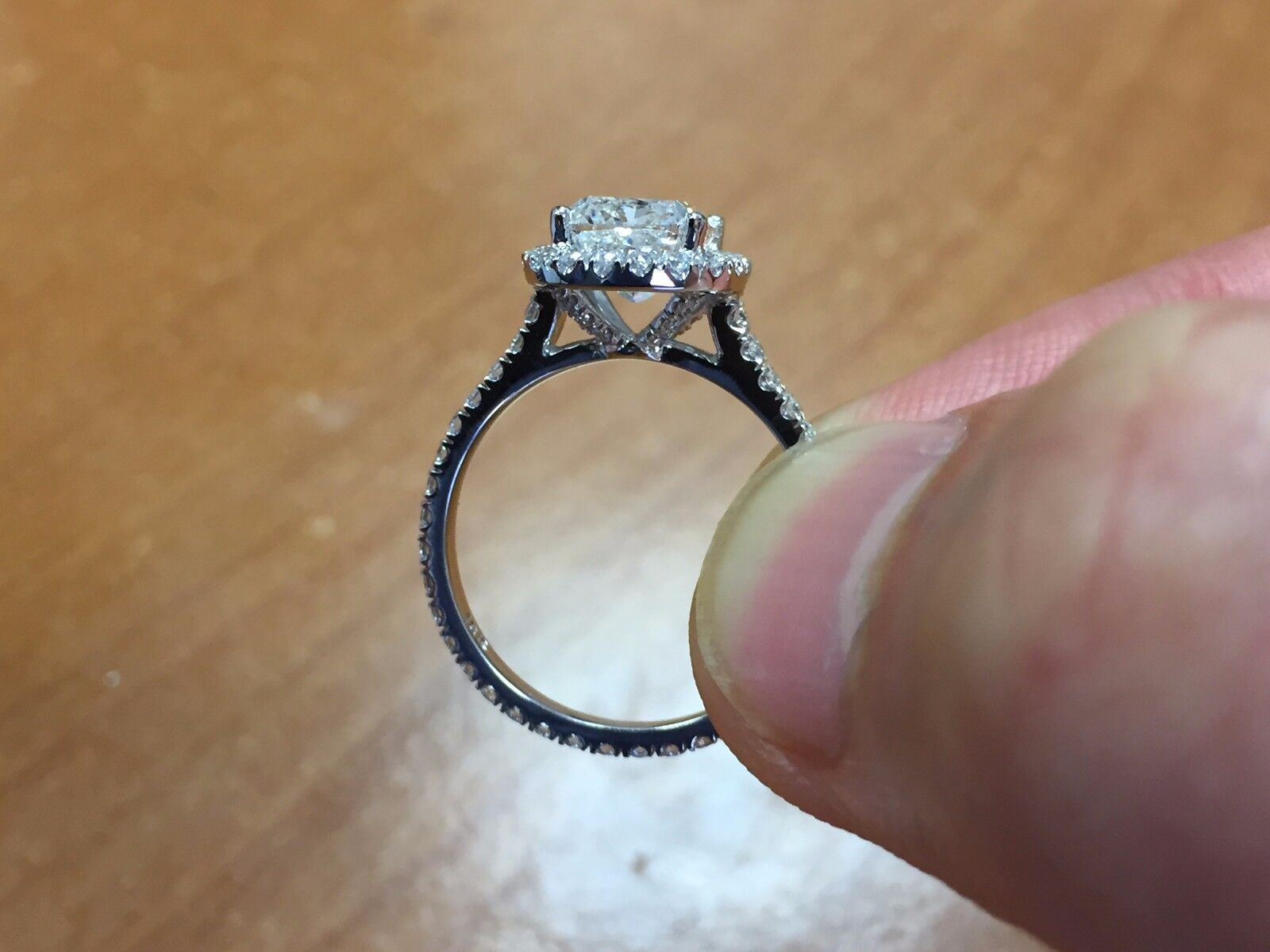 2.30ctw Natural Cushion Halo Pave Eternity Diamond Engagement Ring - GIA Cert 1