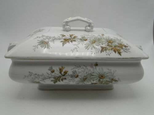 Old Maddock & Co England Rectangular Tureen w Cover Royal Stone China Floral