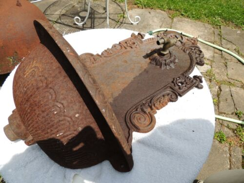 Antique 19th C. Cast Iron, Garden, Wall Fountain Basin, length 25 1/2""