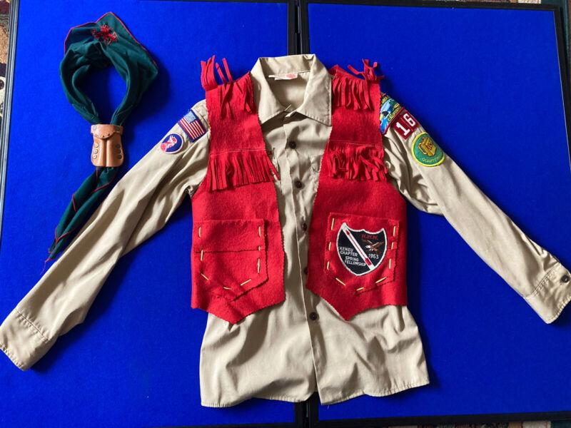 Vintag 1950-60s BSA Uniform Red Vest Neckercheif Patches