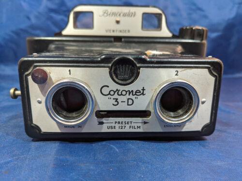 Coronet 3-D 3D Stereo 127 Film Camera w/ Binocular Viewfinder - Working VINTAGE