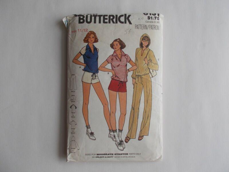 Shorts, Pants, Top Junior/Teen Pattern, Butterick #6131, 11-12, Early 1980's