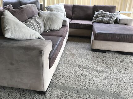 Modern suede Lounge with chaise and a couch