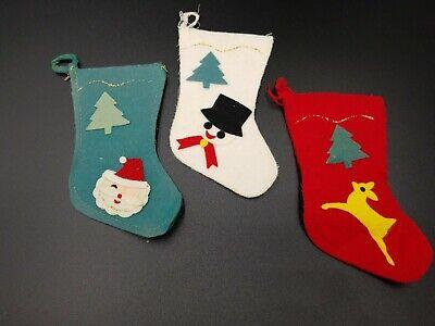 Lot of 3 Vintage Mini Felt Christmas Stocking Santa Snowman Made In Japan 1960's ()