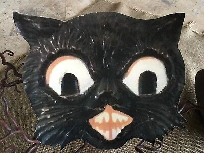 1920's Vintage Repro Smiling Toothy Cat Halloween Cardstock Decoration,9 1/2