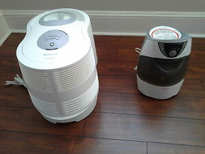 Sunbeam warm mist and Honeywell cool mist humidifiers