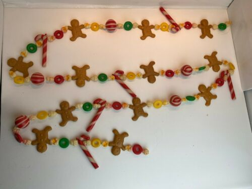 """Vintage Christmas Blow Mold Plastic Garland Peppermint Candy Gingerbread 100"""""""