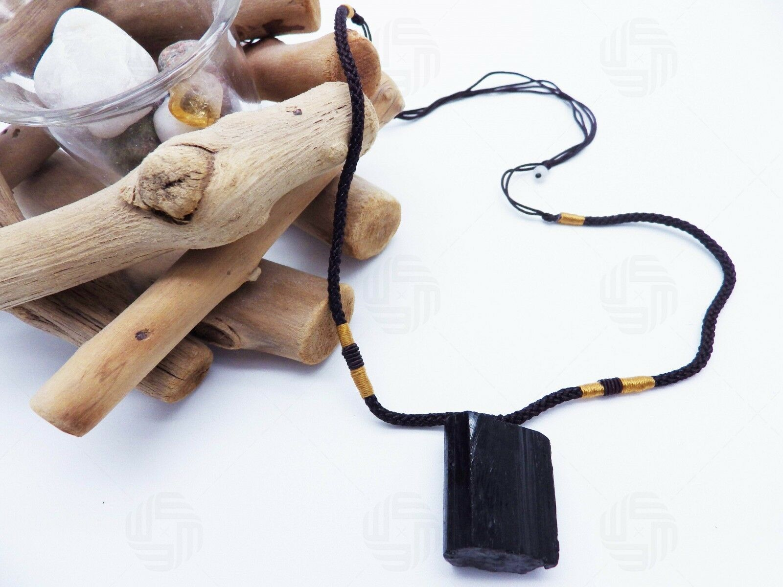 Natural Black Tourmaline Schorl Pendant Chunk Reiki Chakra PROTECTION Necklace