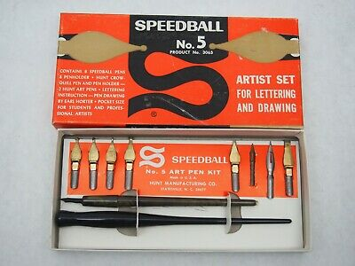 Vintage SPEEDBALL ARTIST PEN SET NO.5-   CALLIGRAPHY -PEN DRAWING - barely used