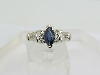 (DAMAGED 10k White Gold Marquise Blue Sapphire Round Baguette Diamond Accent Ring)