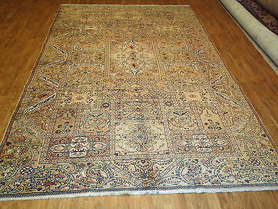 (Antique Turkish Rug 7' Feet by 10' Feet Circa 1930's  Rectangle, Gold 100% Wool)