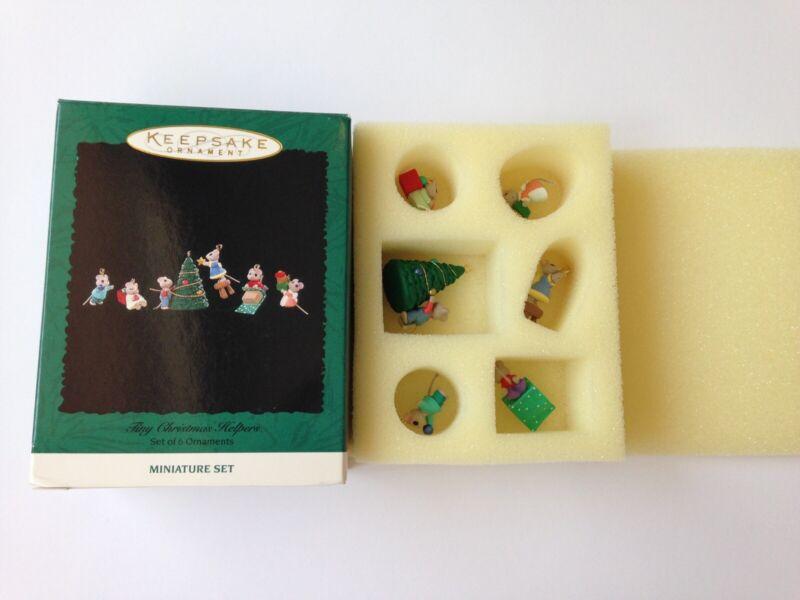 Hallmark Miniature Ornament 1996 Tiny Christmas Helpers Set of 6 Mouse Mice F66