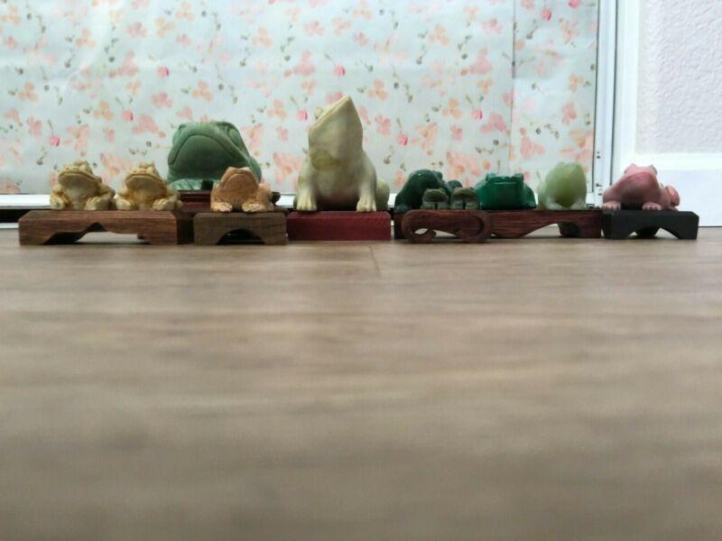 Vintage Frogs Set of 11 Malachite Soapstone Adventurine Jade Marble Rare Quality