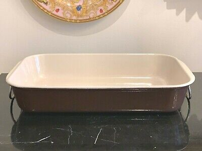 Le Creuset Brown Rectangular Cast Iron Baking Pan Lasagna Roaster Metal Handles ()