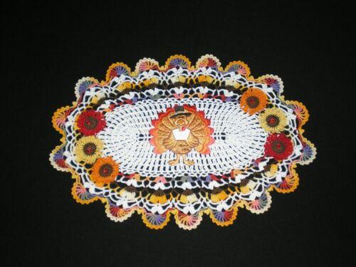 New Handmade Doily Crocheted Fall Flowers/Thanksgiving Turkey