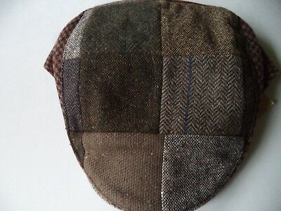 2XL Irish Hanna Hat touring cap tweed wool patch work brown green size 8 Donegal Irish Patch Cap