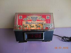 Vintage Budweiser Beer Clydesdale Horses Lighted Cash Register Clock Bar Bud