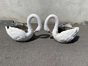 Pair Retro midcentury 50s concrete Swan pot plant holders pot stands Carlisle Victoria Park Area Preview