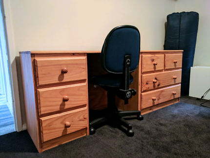 Solid Timber desk with draws + timber tallboy+ timber bedside.