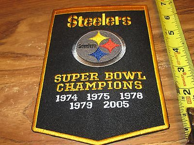 PITTSBURGH STEELERS SUPER BOWL CHAMPIONS BANNER PATCH IRON ON