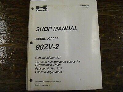 Kawasaki 90zv-2 Wheel Loader Adjustment Shop Service Repair Manual