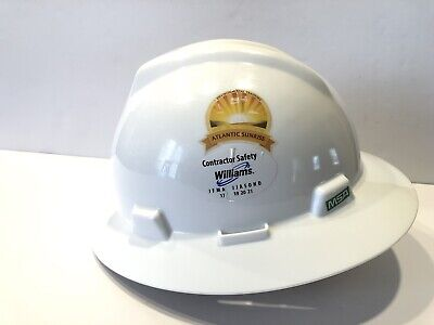 MSA WHITE V-Gard (SLOTTED) Full Brim Safety Hard Hat One Touch Suspension Type 1