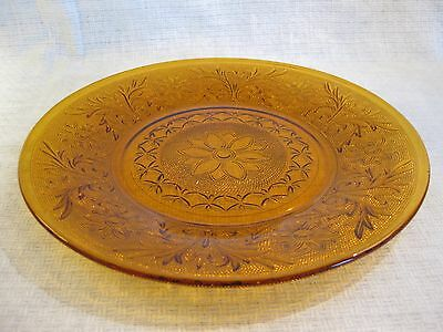 ANCHOR HOCKING Sandwich AMBER Desert Gold Dinner Plates - Set of 7 - MINT