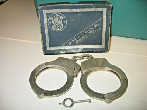 Vintage Smith and Wesson Hand Cuffs in Box Model 90 Regular Nickel Finish