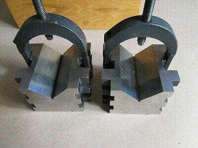 Starrett V Block Set Model 568 Two Blocks W Clamps Wooden Case