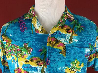 Vintage Blue Hawaiian mens Large Shirt Tropical Fashions by Watanmal Bahamas image