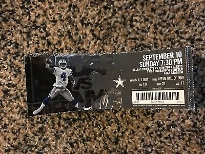 2017 Dallas Cowboys Vs New York Giants Ticket Stub Nfl 9 10 Dak Prescott