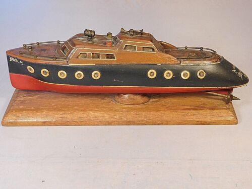 ANTIQUE WOOD CARVED FOLK ART BOAT ATLANTIC HIGHLANDS N.J.