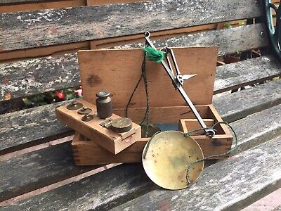 Antique Small Travelling Brass Apothecary Sovereign Scales & Weights in Box