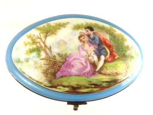 """Antique  French Sevres Style Porcelain Oval """"Lovers & Flowers""""   Trinket Box"""