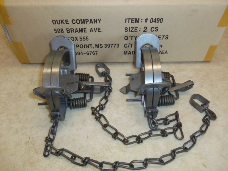 2  Duke # 2 Coil Spring Traps Trapping Coyote Bobcat Fox Lynx Otter 0490