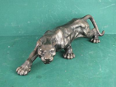 Großer Panther Tiger Löwe Jaguar Puma Leopard Schwer Bronzierte Vollguss Figur