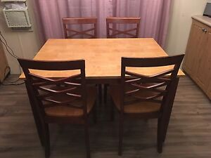 2 tone real wood table w/ 4 chairs