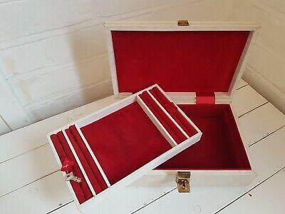 Vintage Tallent Of Old Bond St Cream Jewellery Box Red Velvet Lining Rare, Locks