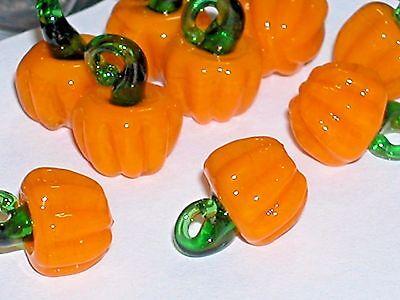 Bead Charm Fruit Glass (1pc tiny Miniature Halloween PUMPKINS Glass Fruit Lampwork pendant charm bead NW )